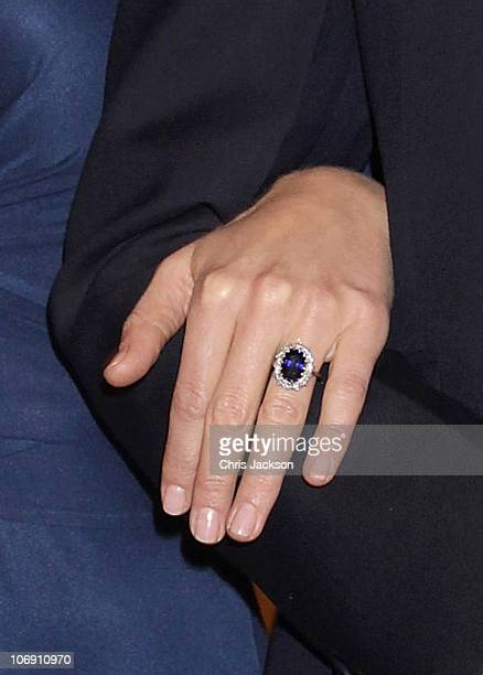 A close up of Kate Middleton's engagment ring as she and Prince William pose for photographs in the State Apartments of St James Palace on November...