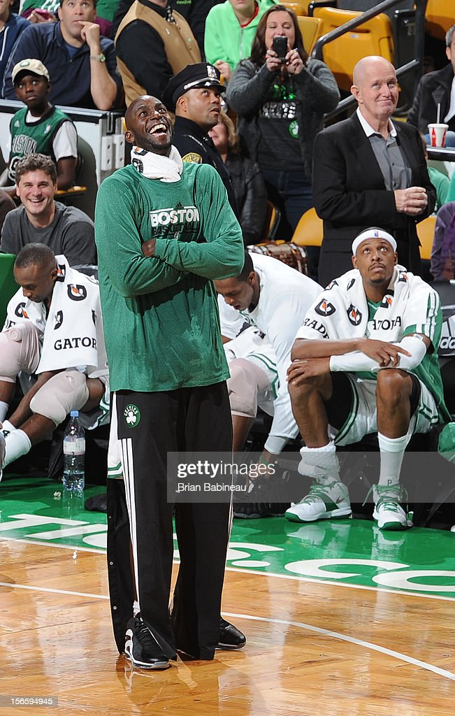 Close up of Kevin Garnett #5 of the Boston Celtics during a time out against the Toronto Raptors on November 17, 2012 at the TD Garden in Boston, Massachusetts.