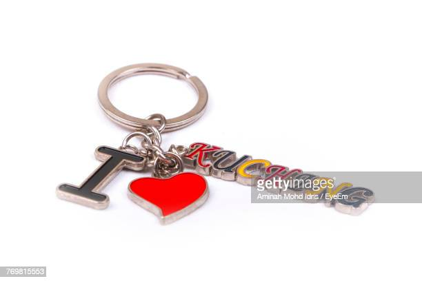 Close Up Of Keyring Charm With Text Over White Background