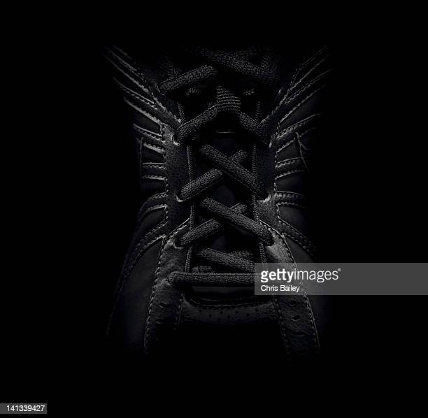 Close up of laced sneaker