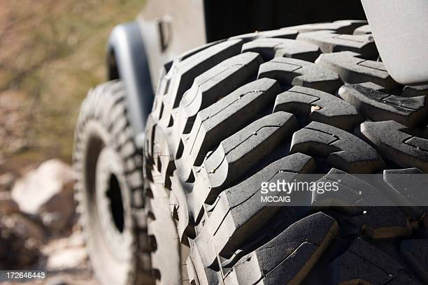 Close up of large 4x4 or army buggy tire