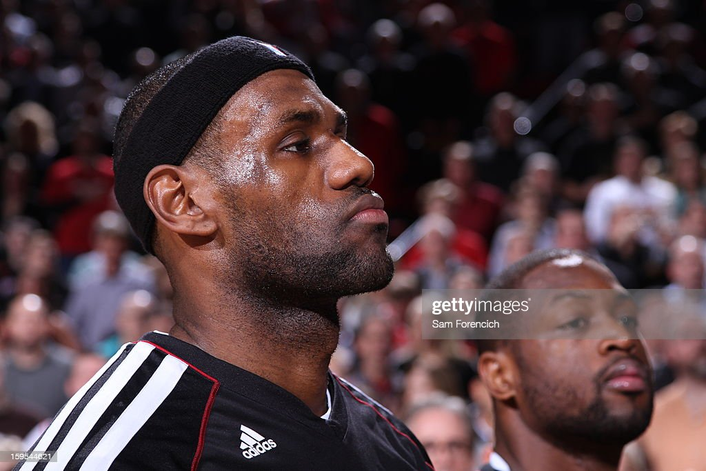 A close up of <a gi-track='captionPersonalityLinkClicked' href=/galleries/search?phrase=LeBron+James&family=editorial&specificpeople=201474 ng-click='$event.stopPropagation()'>LeBron James</a> #6 of the Miami Heat before the game against the Portland Trail Blazers on January 10, 2013 at the Rose Garden Arena in Portland, Oregon.