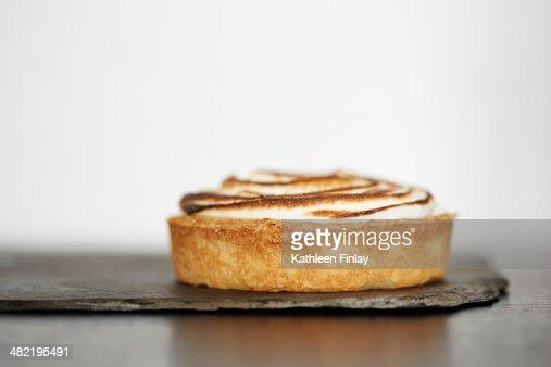 Close up of lemon tart on slate