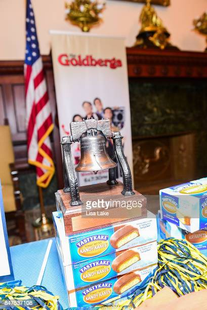 Close up of Liberty Bell plaque sitting on TastyKakes boxes during an event honoring Adam F Goldberg at Philadelphia City Hall on September 15 2017...