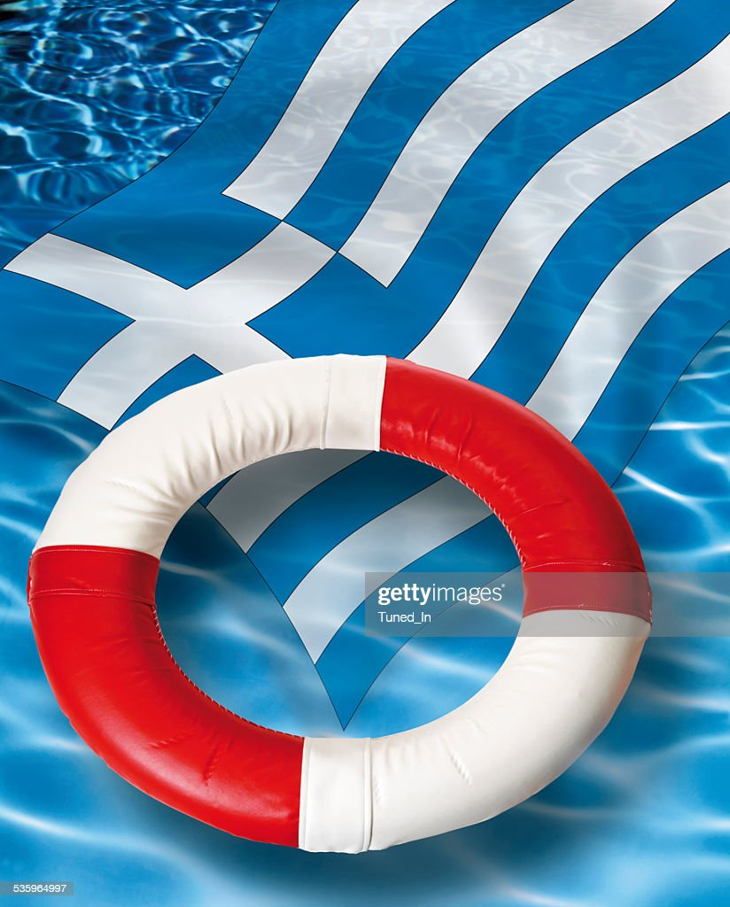 Close up of life belt with greek flag floating : Stock Photo