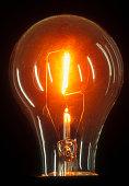Close up of lit light bulb