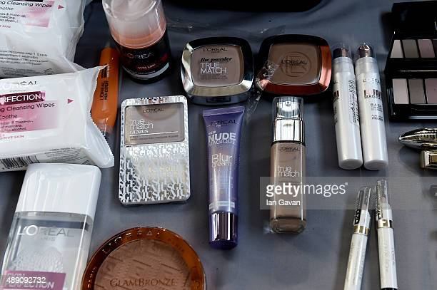 Close up of L'Oreal makeup backstage ahead of the Julien Macdonald show during London Fashion Week Spring/Summer 2016 on September 19 2015 in London...