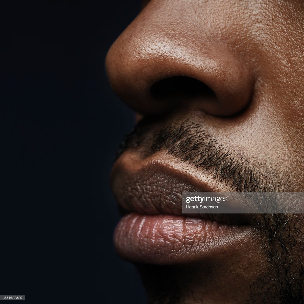 Close up of man lips