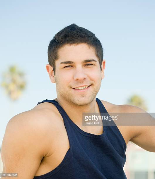 Close up of man wearing tank top