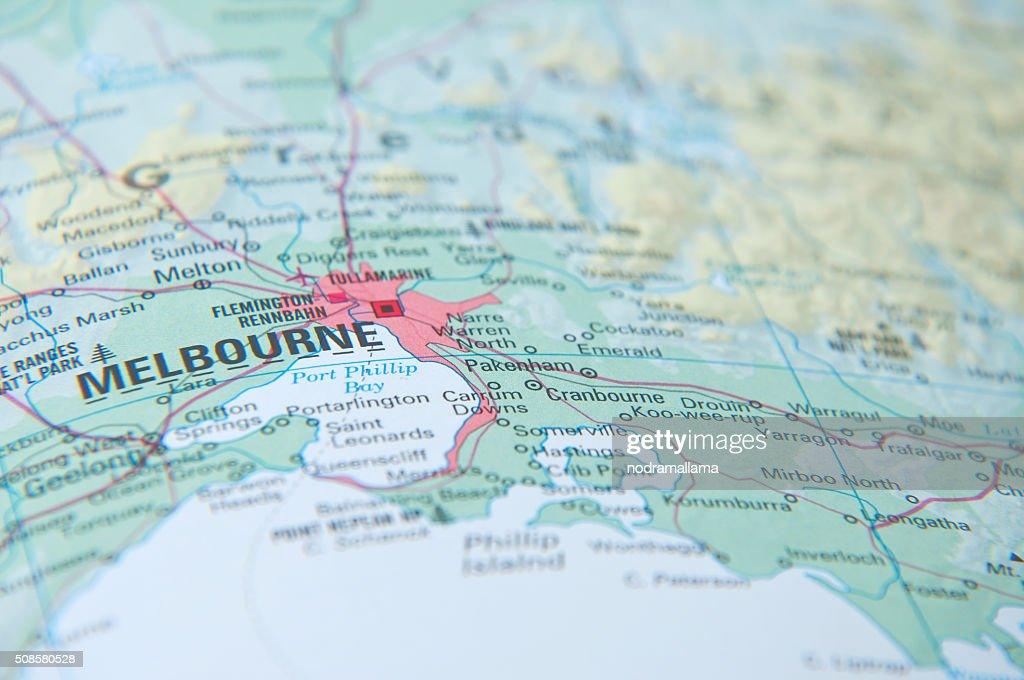 Close Up of map, Melbourne, Australia. : Stock Photo