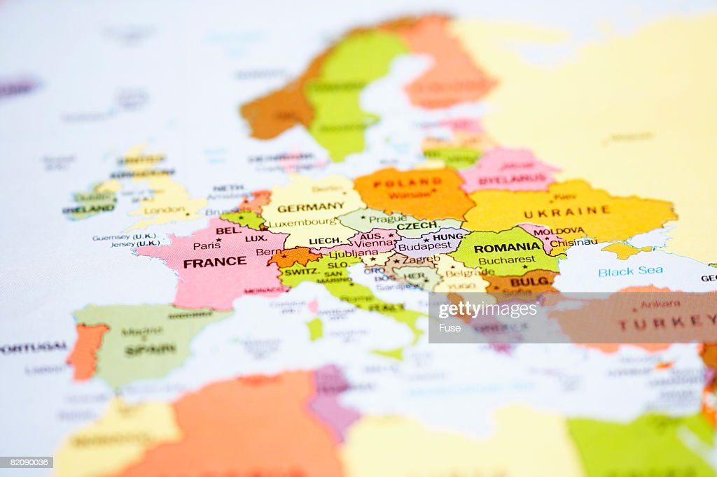 Close up of Map of Europe