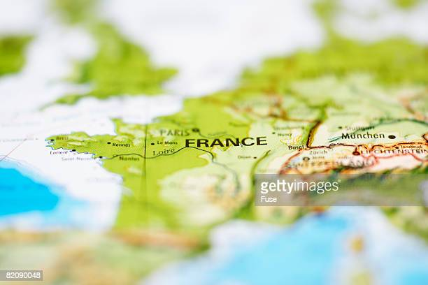 Close up of Map of France