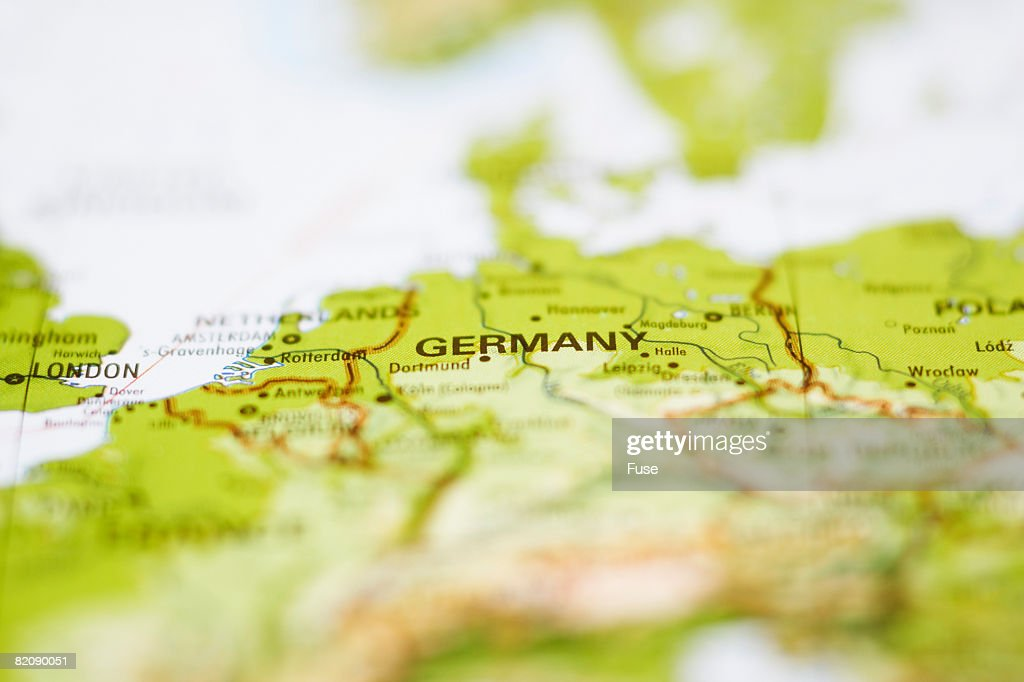Close up of Map of Germany