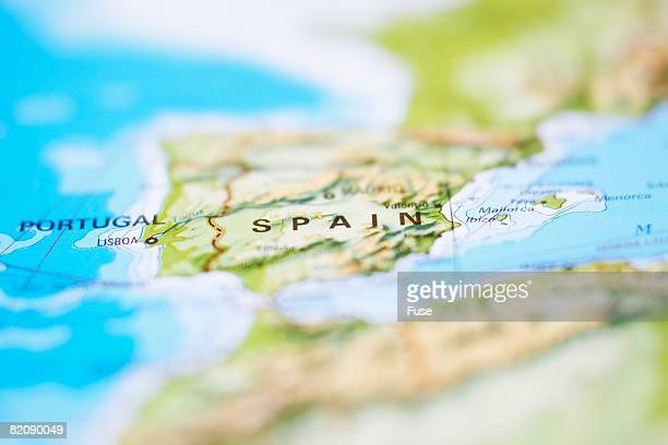Close up of Map of Spain