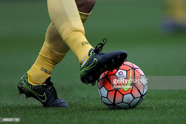 Close up of Mariners boots kicking Official Hyundai ALeague Soccer Ball during the round four ALeague match between the Central Coast Mariners and...