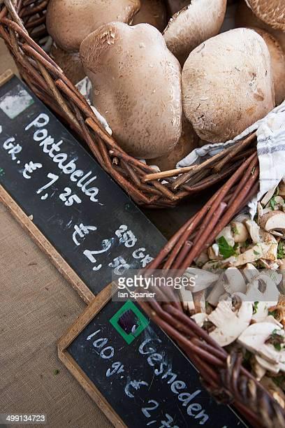 Close up of market portabella mushrooms, Amsterdam, Netherlands