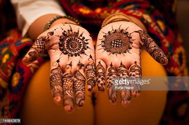 Close up of mehndi on hands