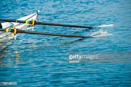 Close up of men's rowing oars