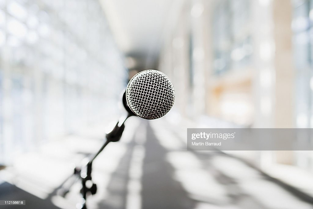 Close up of microphone in office