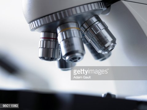 Close up of microscope lens : Stock Photo