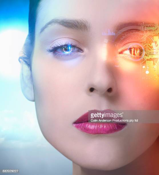 Close up of Middle Eastern woman with advanced technology in her eye