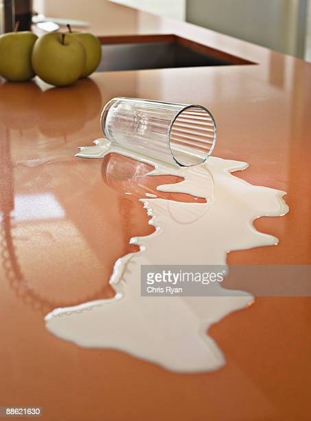 Close up of milk spilled on counter