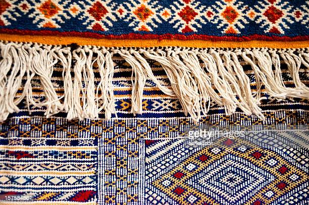Close up of Moroccan rugs in Fez, Morocco.
