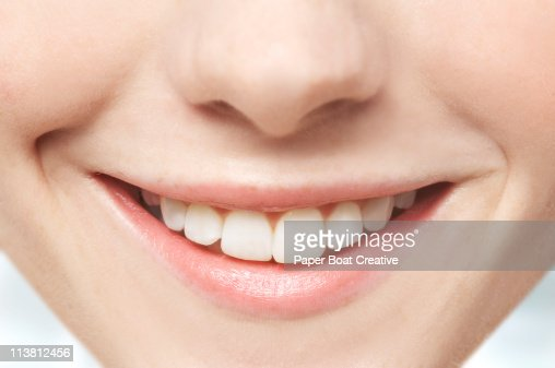 Close up of mouth and white teeth