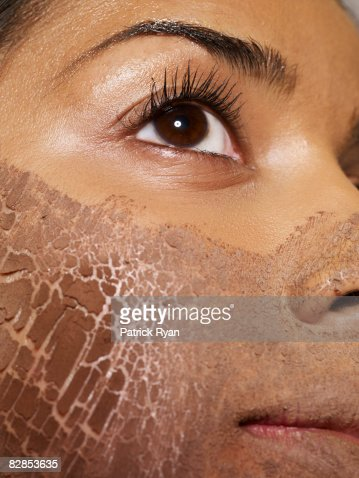 Close up of mud mask on woman's face : Stock Photo