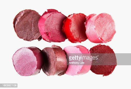 Close up of multicolor lipstick pieces