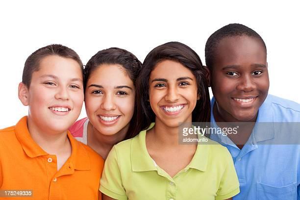Plano aproximado de adolescentes multi-étnico