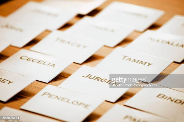 Close up of name tags on table