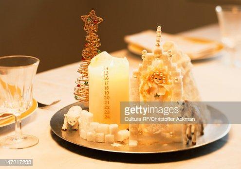 Close up of Nativity scene on plate : Stock Photo