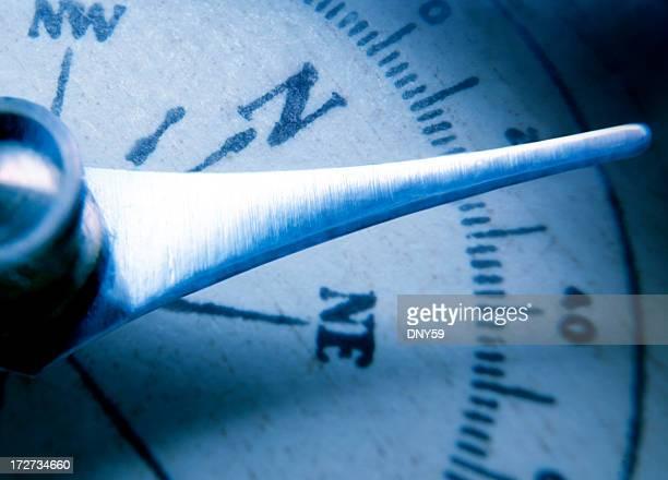 Nahaufnahme des Kompass-Nadel auf spezielle