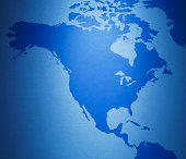 Close up of North America on map