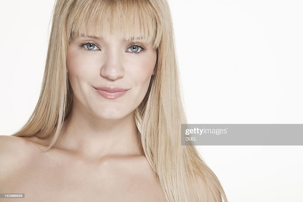 Close up of nude womans smiling face : Stock Photo