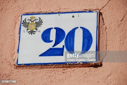 Close up of number 20 plate
