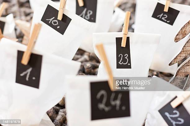 Close up of numbered bags