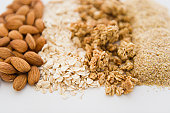 Close up of oats and almonds