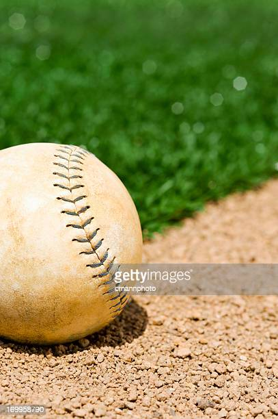 Close Up of Old Softball Laying in Field