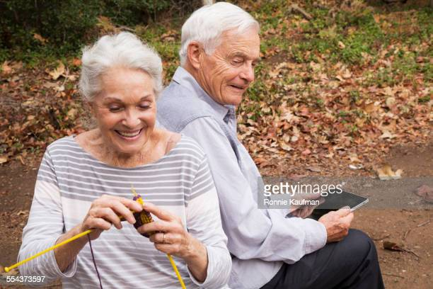 Close up of older couple relaxing outdoors