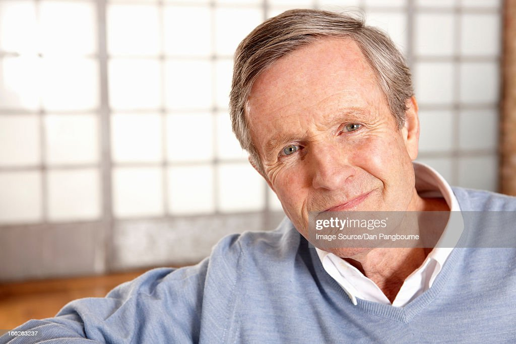 Close up of older man's smiling face : Stock Photo