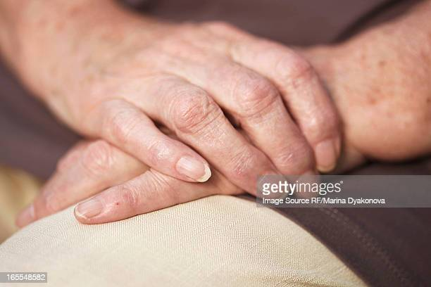 Close up of older woman's hands