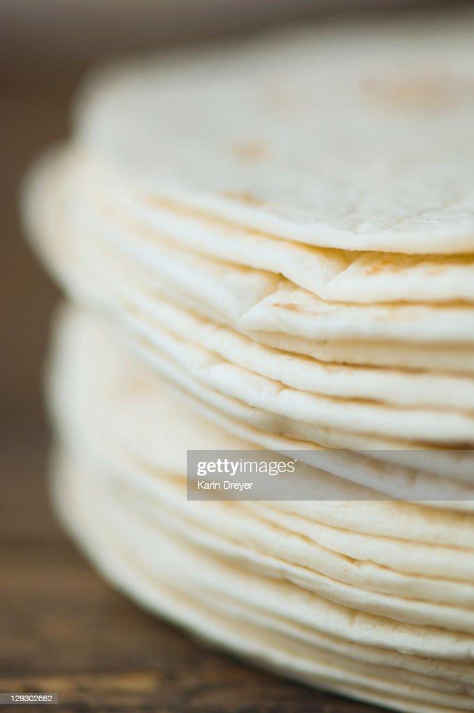 Close up of organic flour tortillas