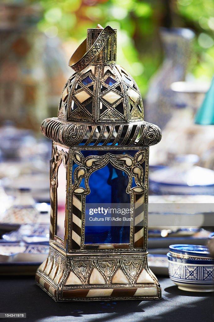 Close up of ornate metal lantern : Stock Photo