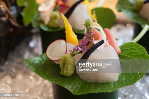 Close up of ornate piece of sushi : Stock Photo