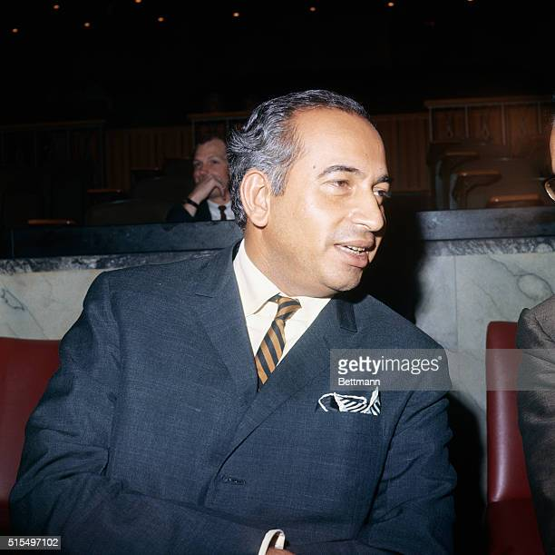 Close up of Pakistani Foreign Minister Zulfikar Ali Bhutto who arrived at the United Nations late September 21st for a special meeting of the...
