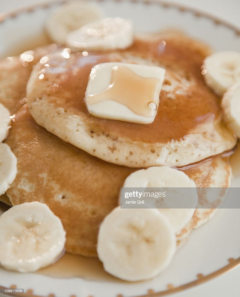 Close up of pancakes with bananas : Stock Photo
