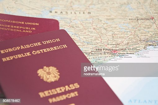 Close Up of Passport and map of Brazil. : Stock Photo