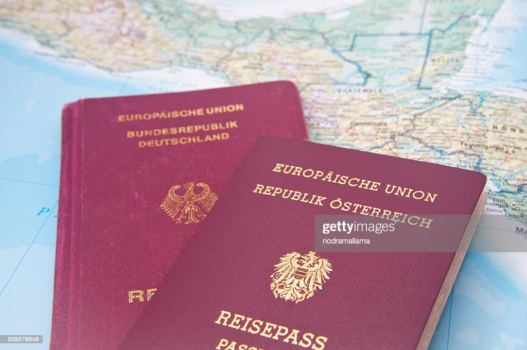 Close Up of Passport and map of Central America. : Stockfoto